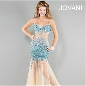 Jovani Turquoise Nude Prom Dress